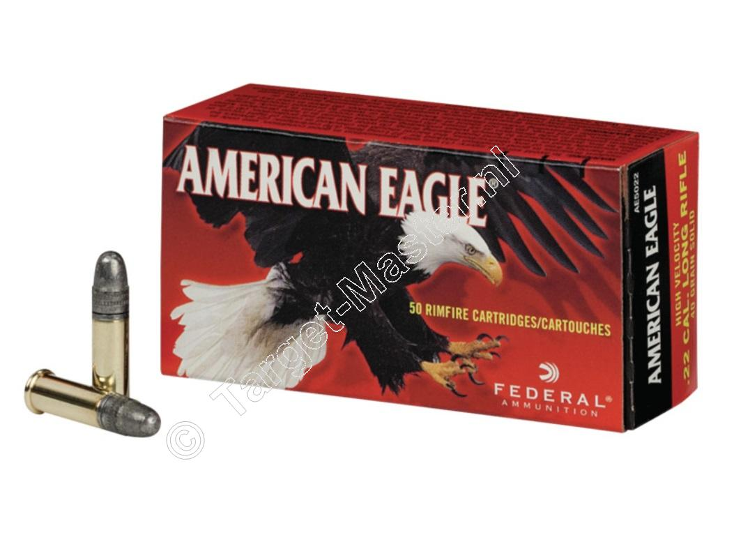 American Eagle HIGH VELOCITY Munitie .22 Long Rifle 40 grain Lead Round Nose verpakking 50