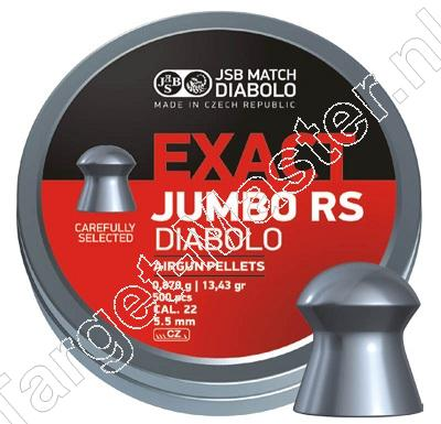 JSB EXACT JUMBO RS 5.50mm, .22 Airgun Pellets tin of 500