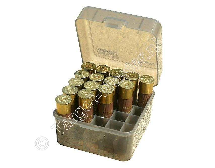 MTM Case-Gard S25-12D Ammo Box 12 Gauge CLEAR SMOKE content 25