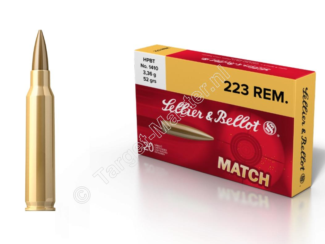 Sellier & Bellot 223 Remington MATCH Munitie HPBT 52 grain verpakking 20